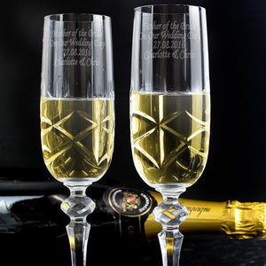 Pair of cut crystal champagne flutes **Out of Stock**