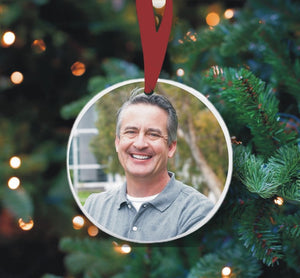 Round photo Christmas ornament