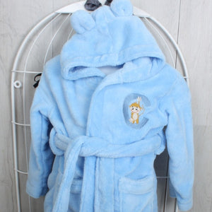 Super soft personalised bathrobe for child in blue