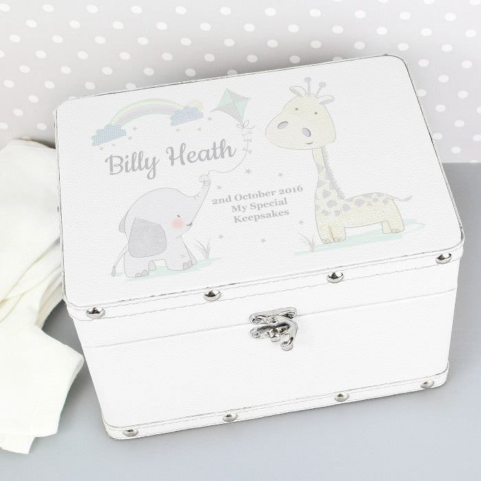Personalised White Leatherette Keepsake Box
