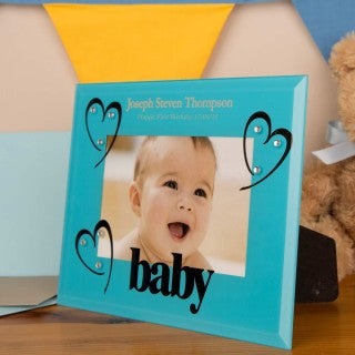 Blue Glass Baby Photo Frame