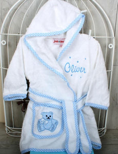 Personalised Gift Set for New Baby in Blue with Baby Bathrobe