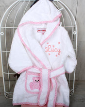 Personalised Gift Set for New Baby in Pink with Baby Bathrobe