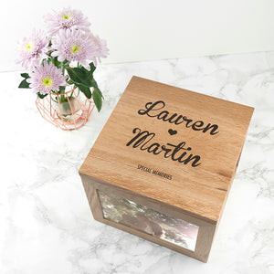 Large Oak Keepsake Box Couple Name and Heart