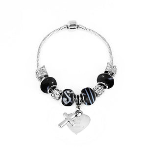 Galaxy Charm Bracelet with Engraved Heart Tag