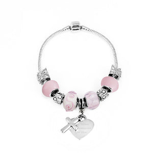 Pink Charm Bracelet with Engraved Heart Tag