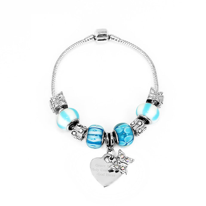 Blue Charm Bracelet with Engraved Heart Tag
