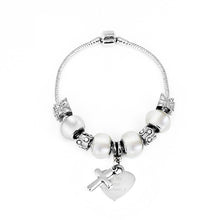 White Charm Bracelet with Engraved Heart Tag