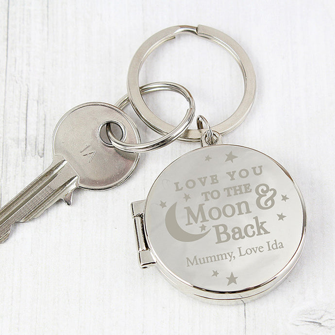 To the moon and back photo keyring