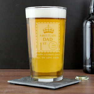 Pint Glass- First Class