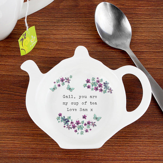 Forget-me-not teabag rest