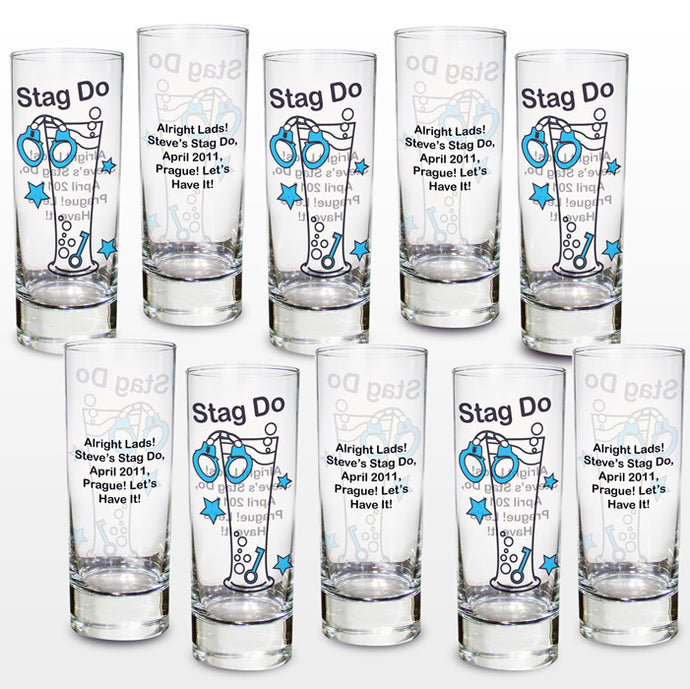 Stag party shot glasses pack of 10