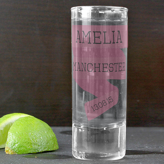 Pink banner shot glass