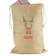 Large Reindeer hessian sack