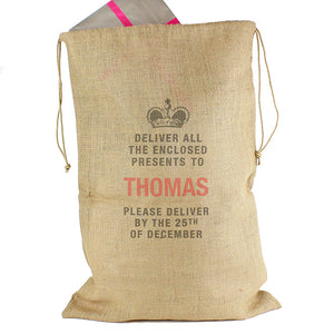 Please deliver to... large hessian sack
