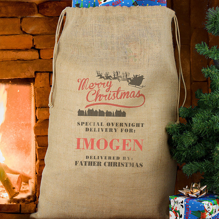 Merry Christmas large hessian sack