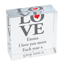 Personalised LOVE crystal block