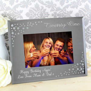 Diamanté Glass Photo Frame Personalised 21st Birthday Gift
