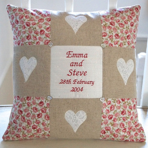 Silk and linen cushion for anniversary or other special date as a couple.