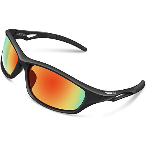 f1b95124e6 Torege Polarized Sports Sunglasses For Men Women For Cycling Running  Fishing Golf TR90 Unbreakable Frame TR010