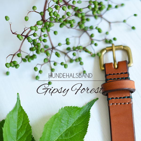 "Hundehalsband ""Gipsy Forest"" in cognac"