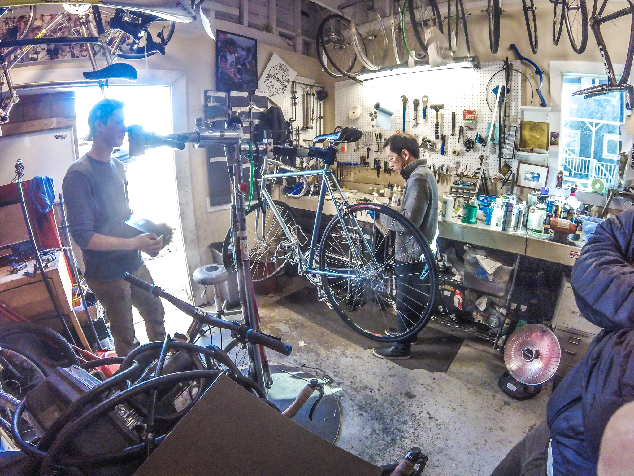 Shop talk with between our Veer employees and Tony Tom, A Bicycle Odyssey shop owner.