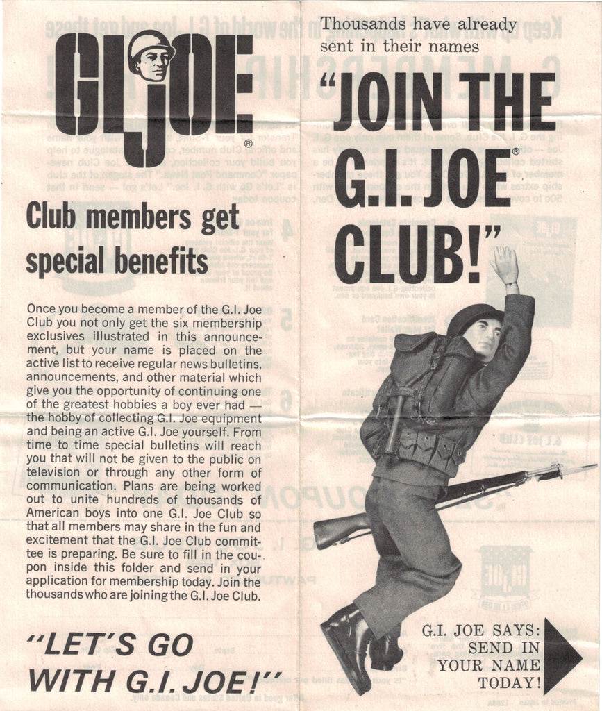 "Original 1964 Hasbro GI JOE ""Join The GI JOE Club"" Paperwork"