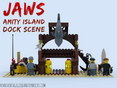 LEGO CUSTOM -- JAWS : AMITY ISLAND DOCK SCENE : CHIEF BRODY MATT HOOPER QUINT