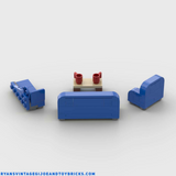 LEGO CITY -- CUSTOM BLUE LIVING ROOM FURNITURE : COUCH : CHAIR : CHAISE LOUNGE