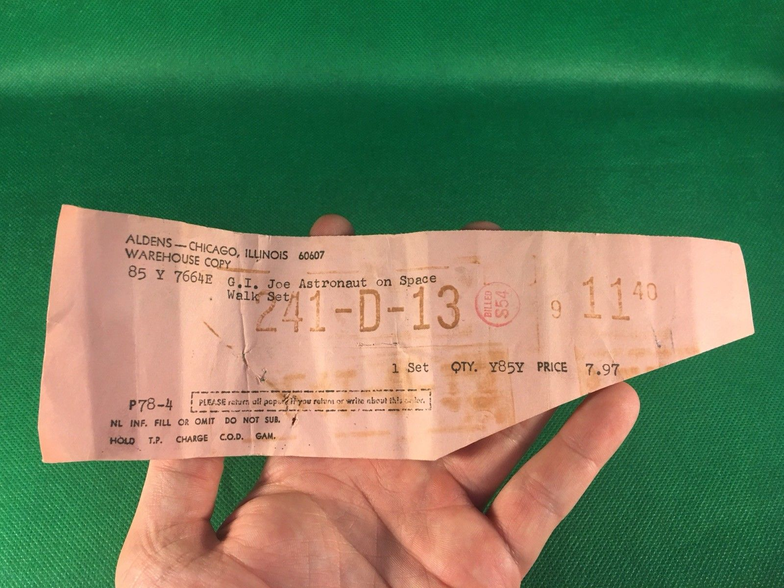 VINTAGE 1964 GI JOE -- 1969 ADVENTURES OF : SPACEWALK MYSTERY SALE RECEIPT PAPER