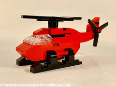 LEGO CITY -- CUSTOM MINI RED HELICOPTER VEHICLE MOC + PDF INSTRUCTIONS