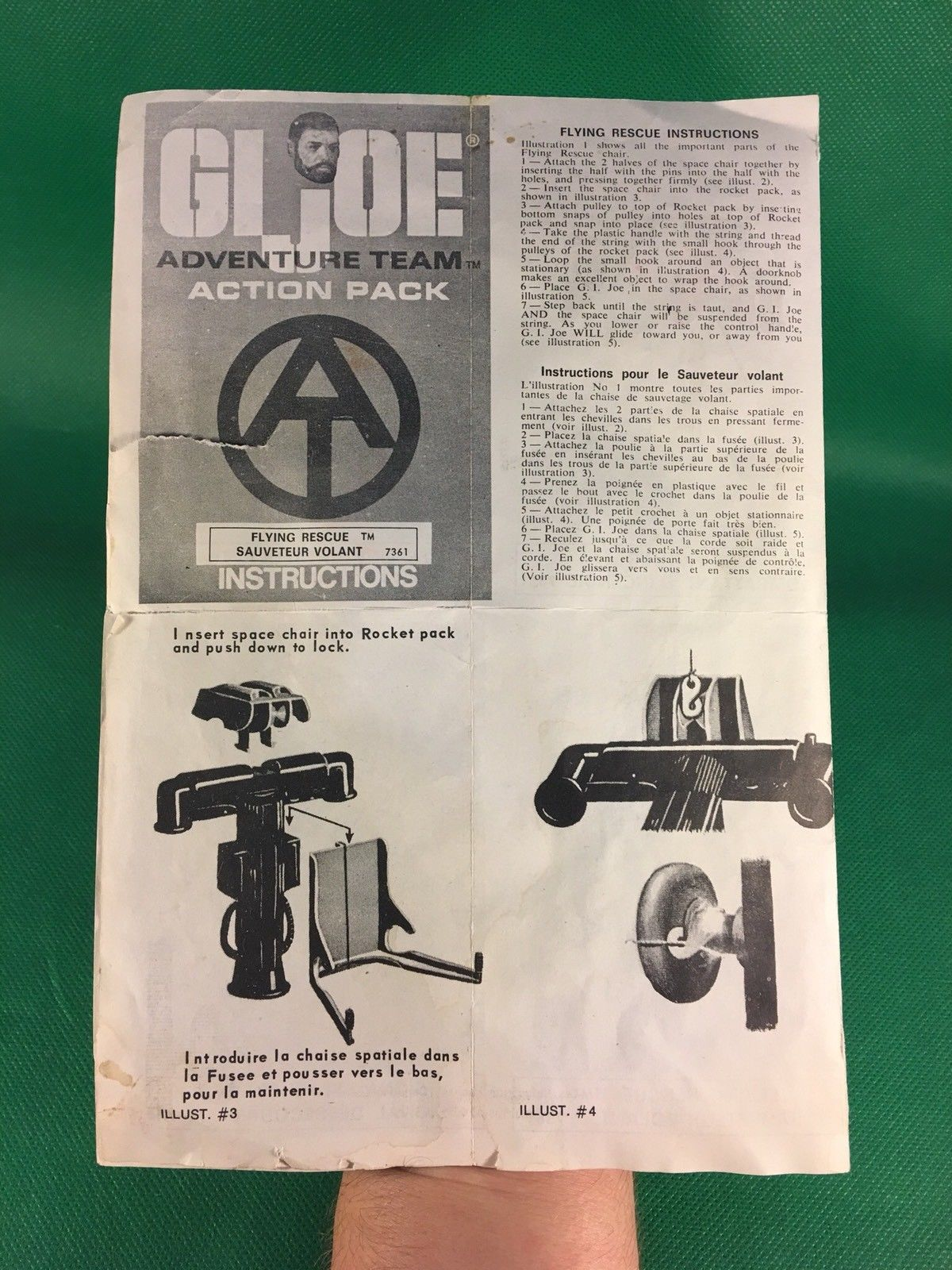 VINTAGE 1964 GI JOE -- ADVENTURE TEAM FLYING RESCUE INSTRUCTIONS CANADA VERSION