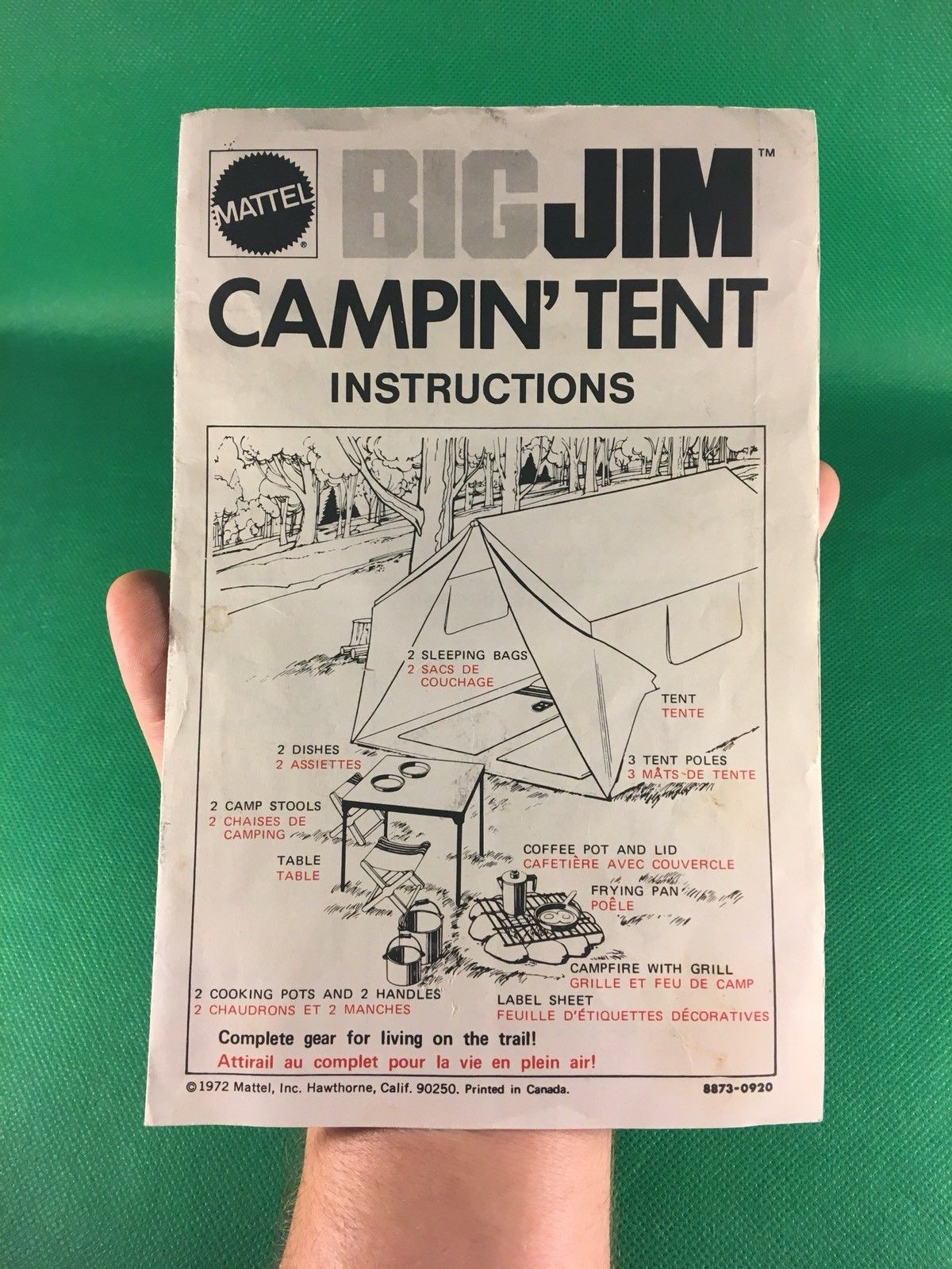 VINTAGE BIG JIM -- 1972 CAMPIN' TENT INSTRUCTIONS CANADA VERSION NICE