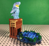 LEGO CUSTOM -- SERIES 15 SHARK SUIT GUY MINIFIGURE WITH OCEAN DIVE DISPLAY MOC