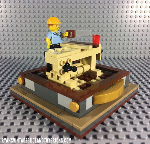 LEGO CUSTOM -- SERIES 13 CARPENTER MINIFIGURE WITH WOODWORKING TABLE DISPLAY MOC