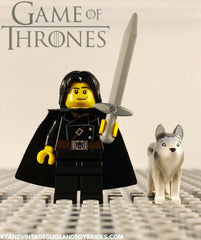 LEGO GAME OF THRONES -- CUSTOM JON SNOW MINIFIGURE WITH DIRE WOLF 100% AUTHENTIC PIECES