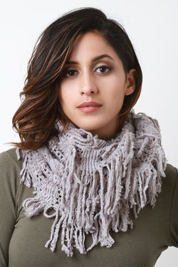 Fuzzy Stripe Knit Fringe Circle Scarf