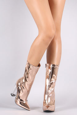 Shoe Republic LA Pointy Toe Chunky Perspex Heeled Mid Calf Boots