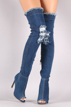 Distressed Denim Stiletto Over-The-Knee Boots