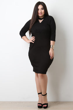 Mock Neck Cutout Ribbed Knit Dress