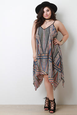Mixed Print Trapeze Handkerchief Hem Dress