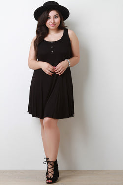 Sleeveless Ribbed Knit Button Decor Shift Dress