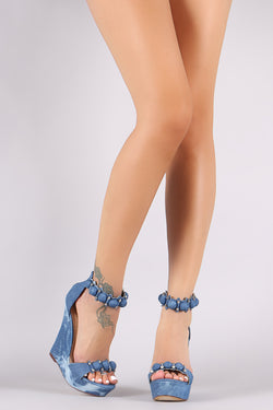 Liliana Denim Bullet And Button Ankle Strap Platform Wedge