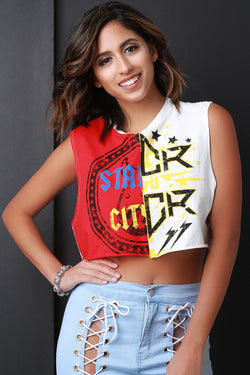 Two-Tone Graphic Print Raw Edge Crop Top