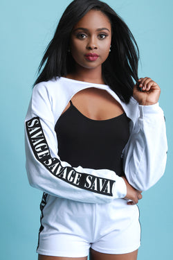Savage Side Ribbon Cutout Sweater