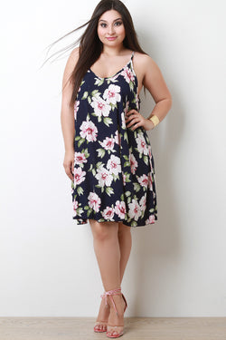 Hibiscus V-Neck Trapeze Dress