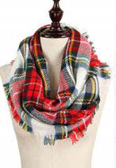 Multi & White Plaid Infinity Scarf
