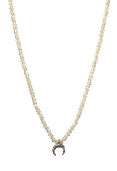 Kixters - Gold Beaded Mini Crystal Horn Necklace