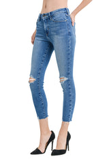 Just Black - Indigo Knee/Hem Destruction Skinny Jeans