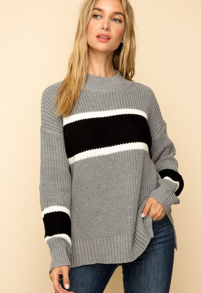 Kixters - Grey w/White/Black Stripes Pullover Sweater